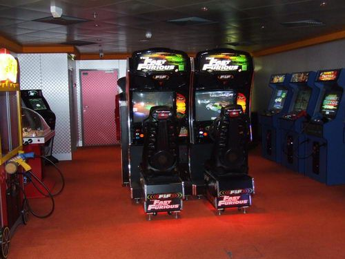 The arcade at the Metro Teen Center on the Norwegian Pearl