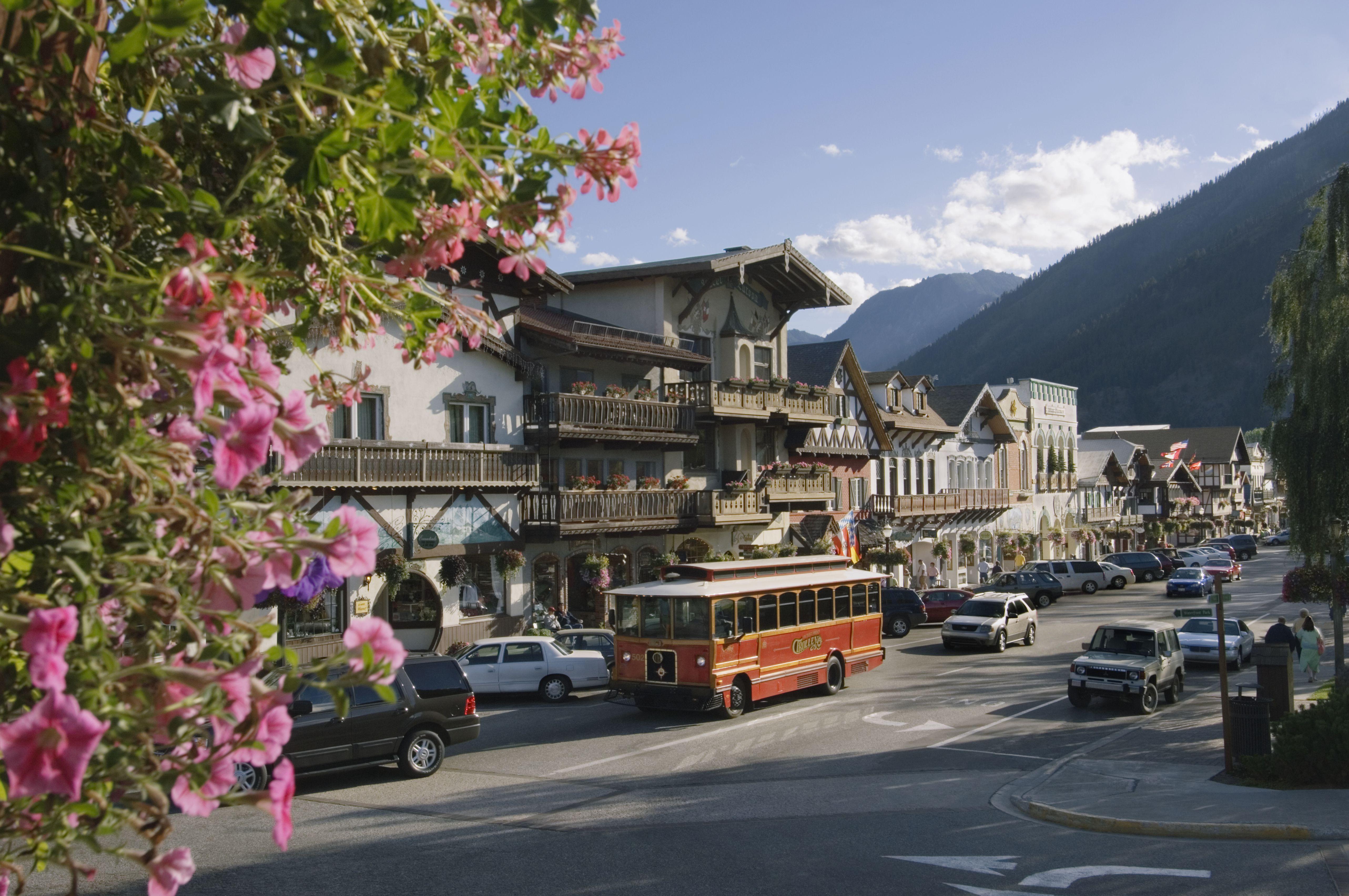 Traffic on street in Leavenworth near Cascade Mountains