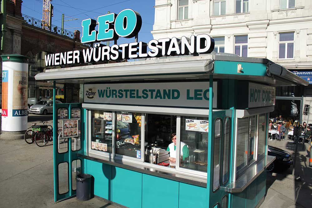 "A ""Wurstelstand"" (traditional sausage stand) in Vienna, Austria"