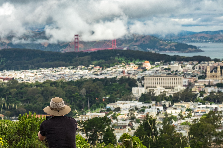 Golden Gate Bridge Against Cloudy Sky