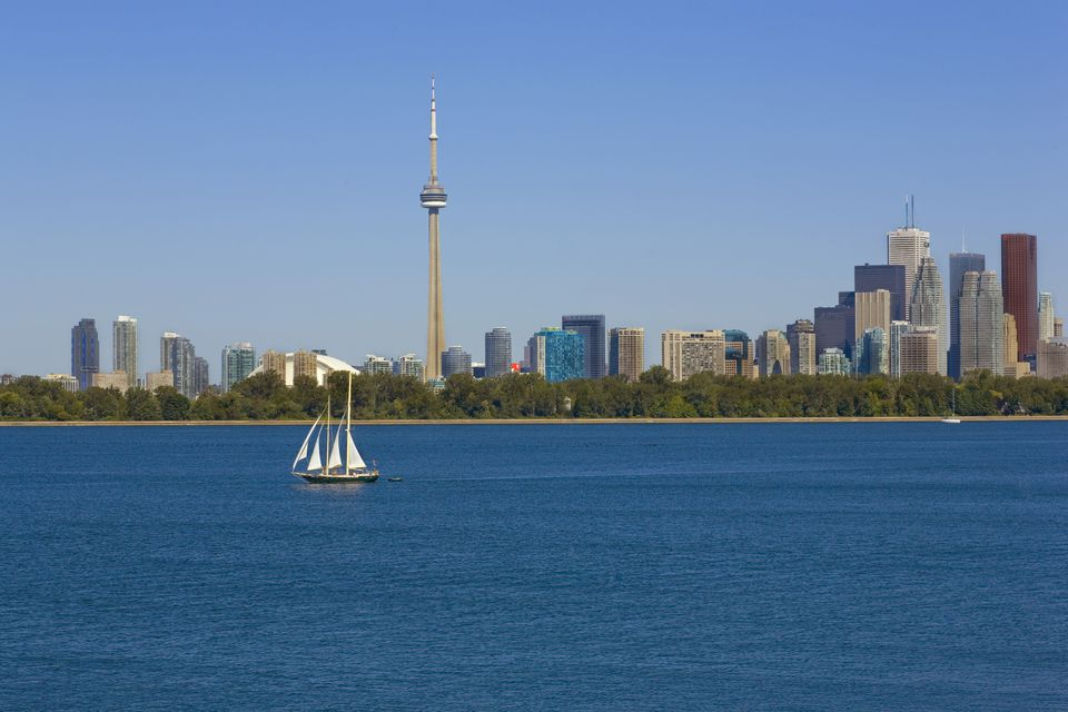City Skyline with Sail Boat on Lake, Toronto, Ontario