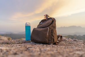 Water bottle and backpack