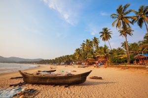 A wooden boat sits on a sandy beach with palm trees stretching out into the distance.