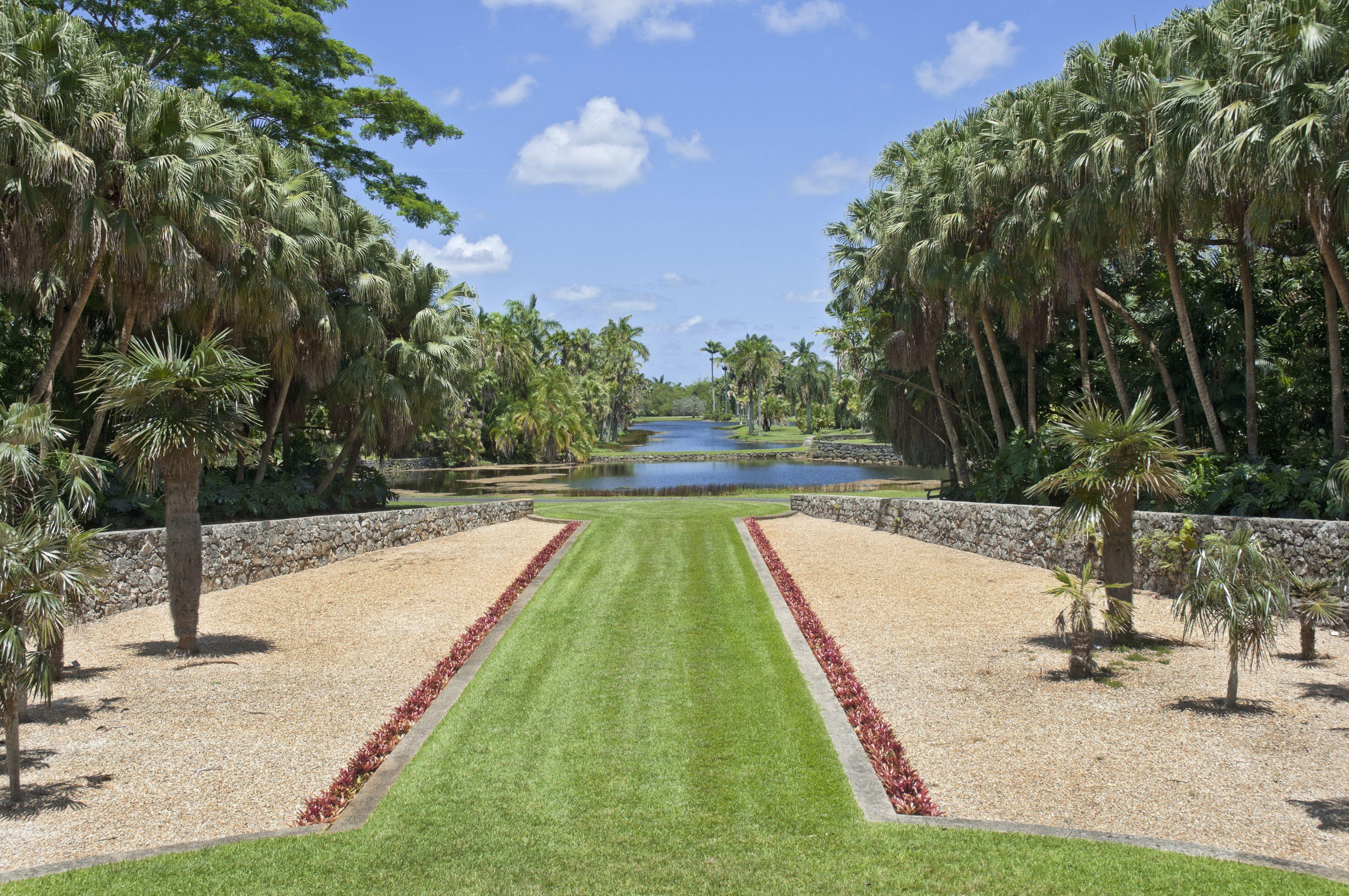 A grand vista of tropical garden splendor.