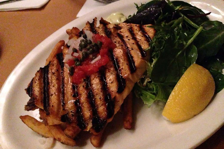 A Salmon dish at Petite Crevette in Brooklyn