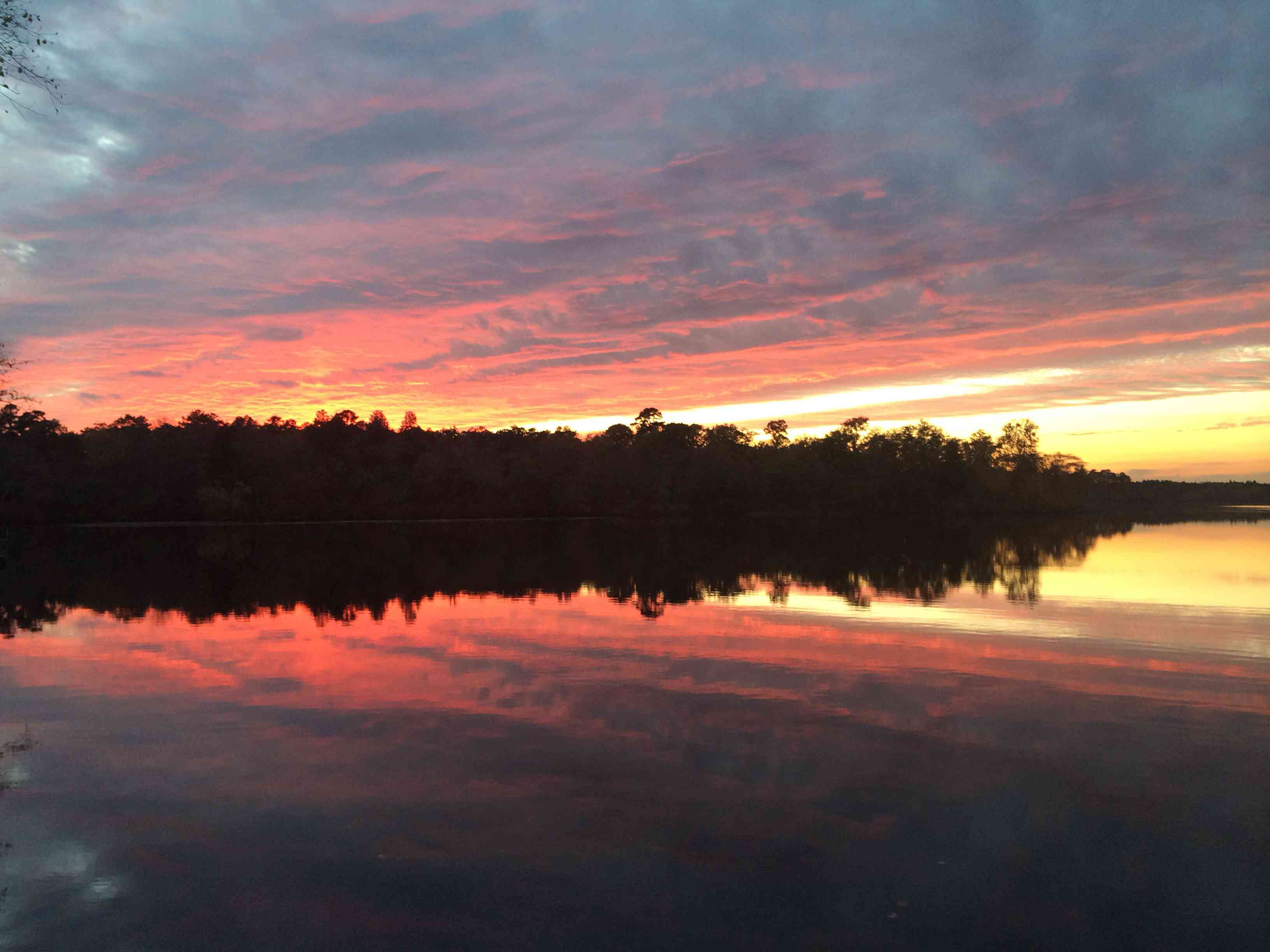 Sunset over a state park lake