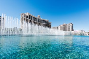 The Fountains at the Bellagio Casino in Las Vegas during the day