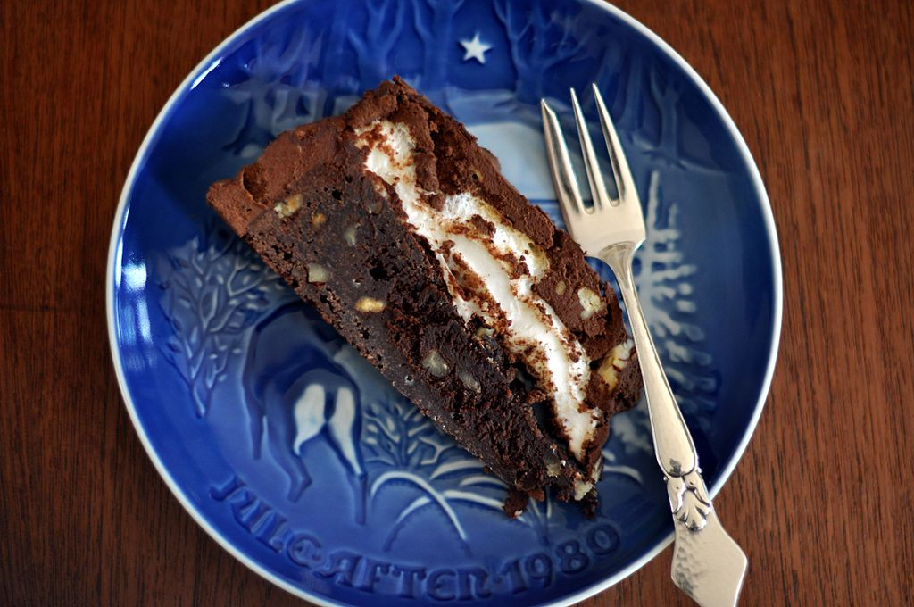 Mississippi mud pie on a plate with a fork.