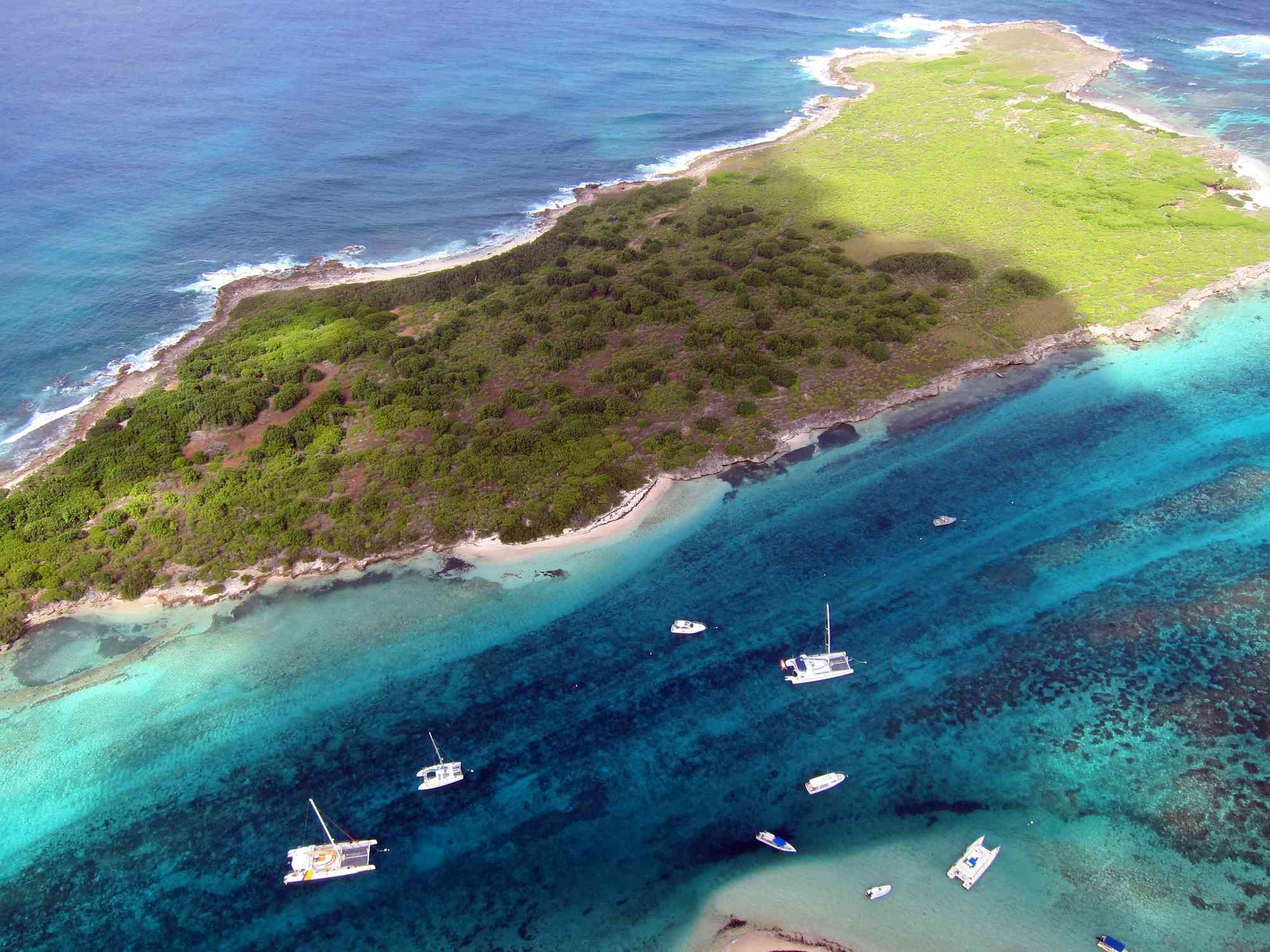 Aerial view of Petite-Terre in Guadeloupe,