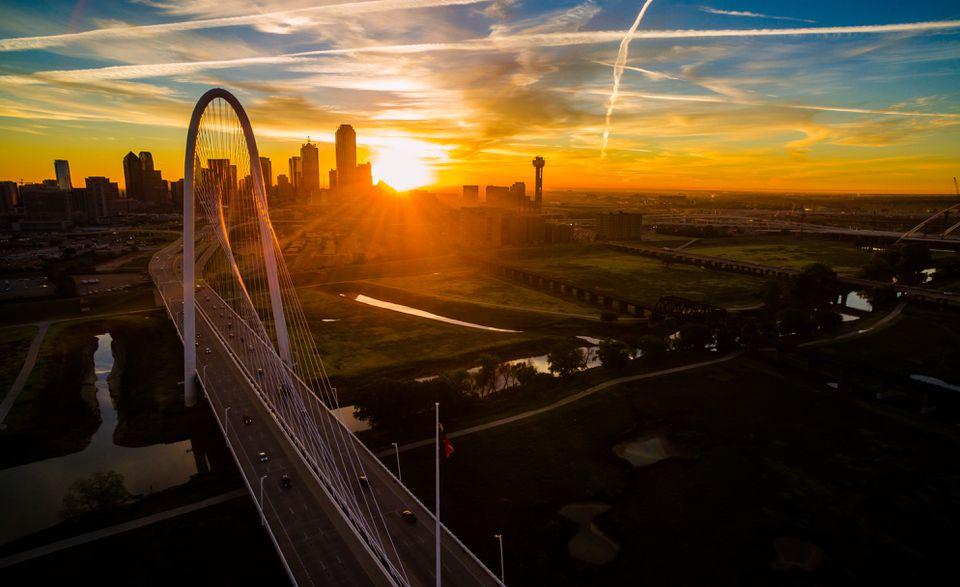 Dallas Texas golden sunrise over Margaret Hunt Hill Bridge