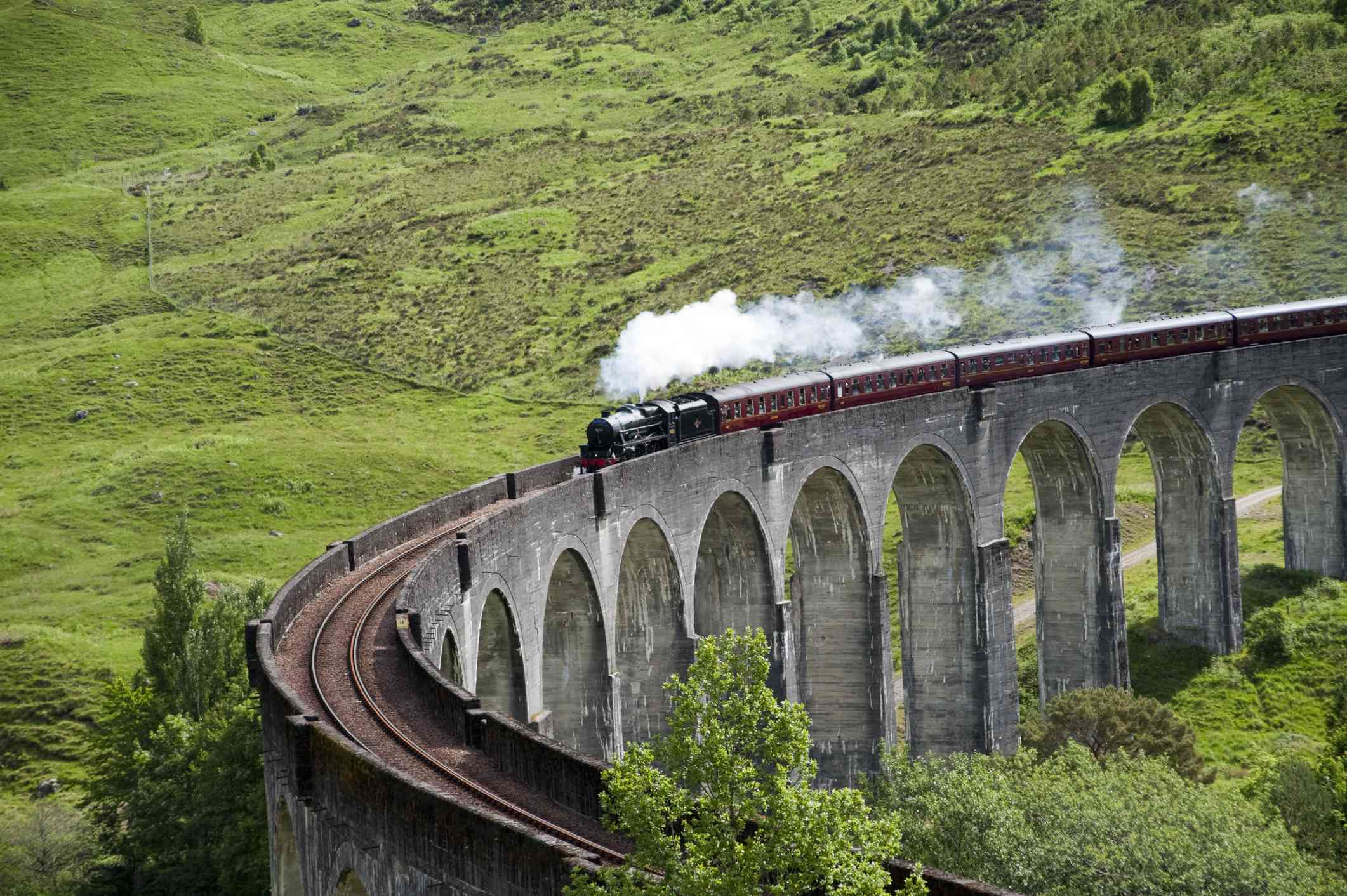 The Jacobite vintage steam train crosses the Glenfinnan viaduct.