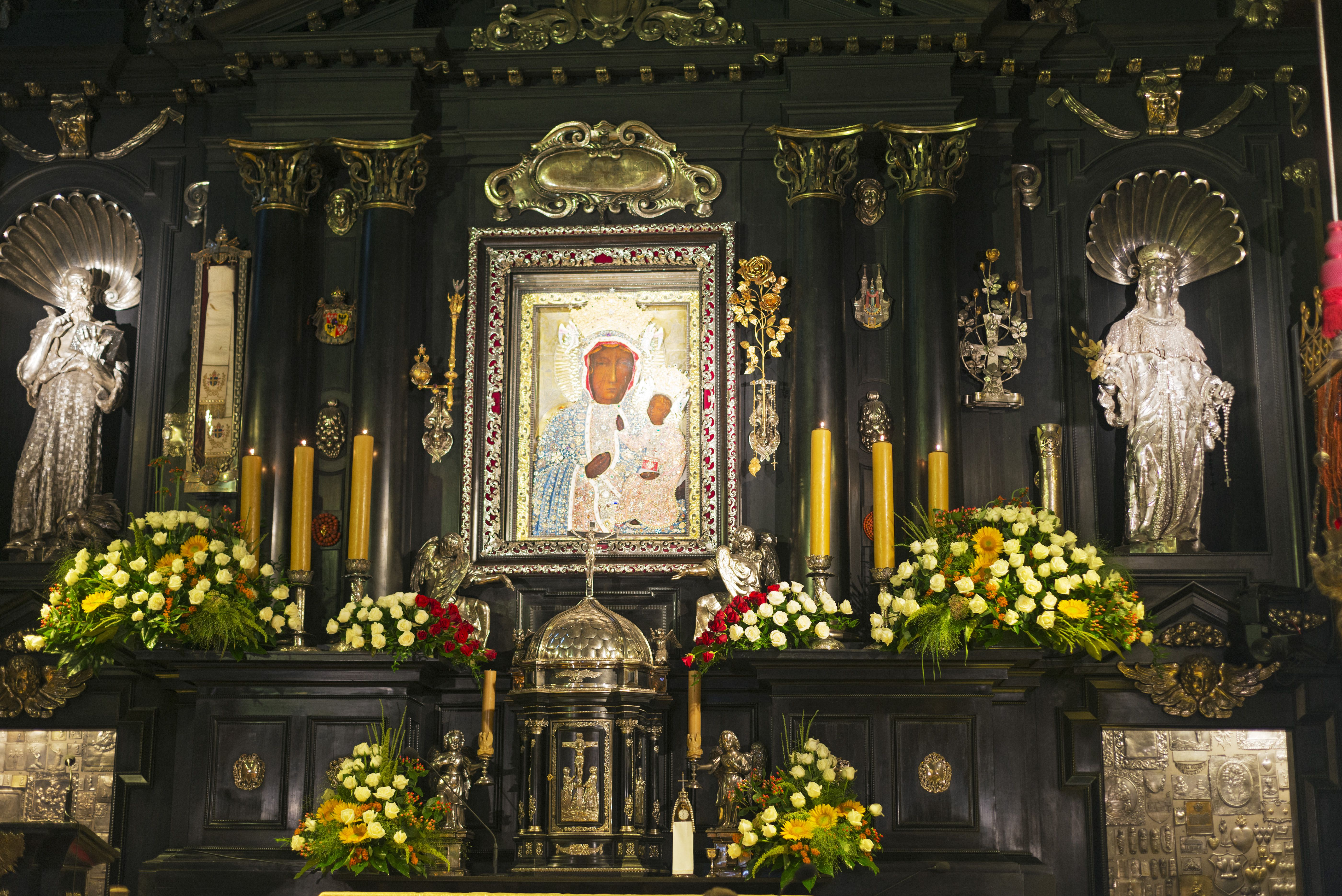 Poland, Malopolska, Czestochowa, Monastery of Jasna Gora, during Marian Feast of Assumption, Black Madonna painting of Virgin Mary and Christ child