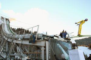 Ski jumper flies off the Garmisch-Partenkirchen artificial jumping slope