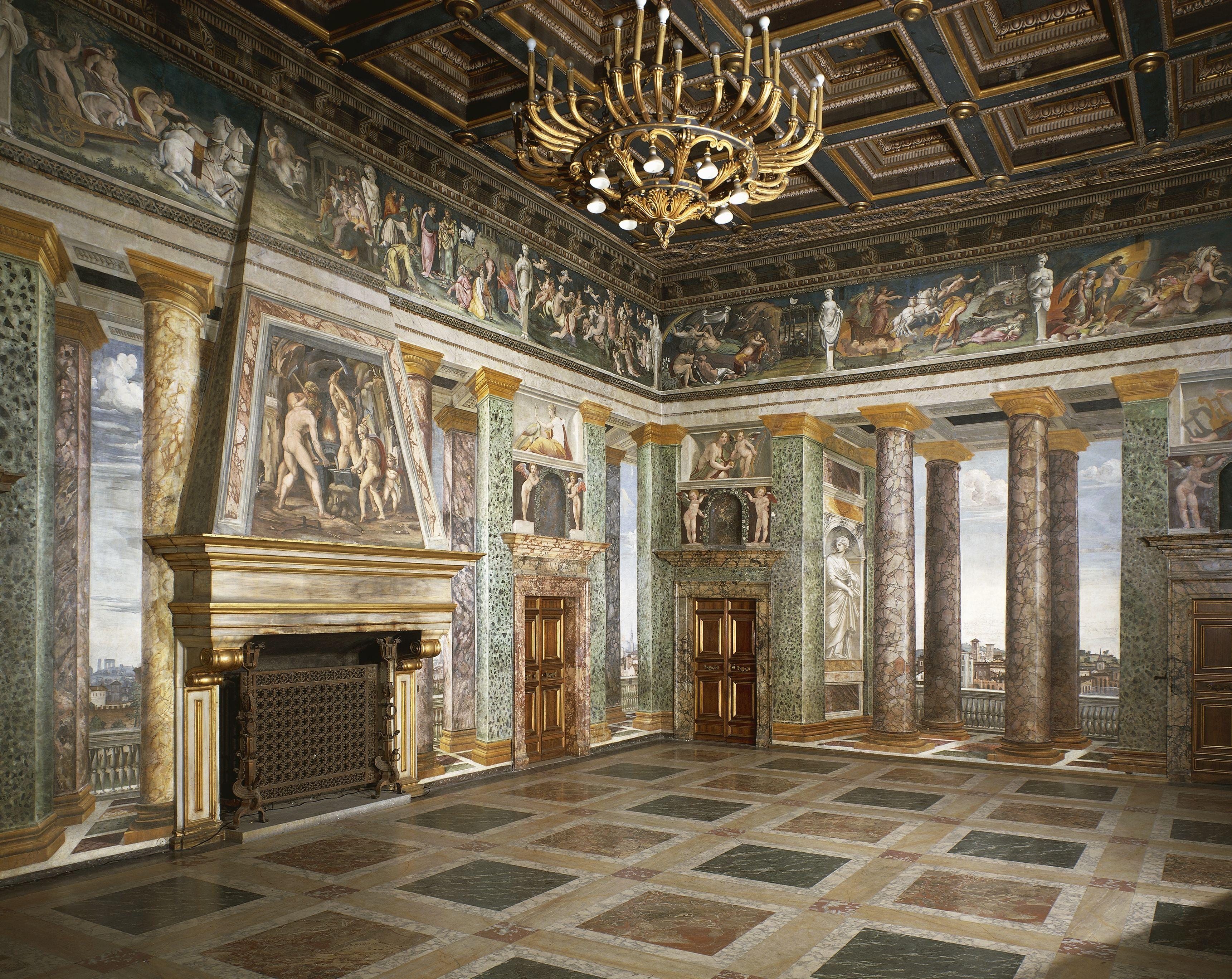 Pasillo de las perspectivas, con frescos de Baldassarre Peruzzi, Villa Farnesina, Roma, Italia, siglo XVI