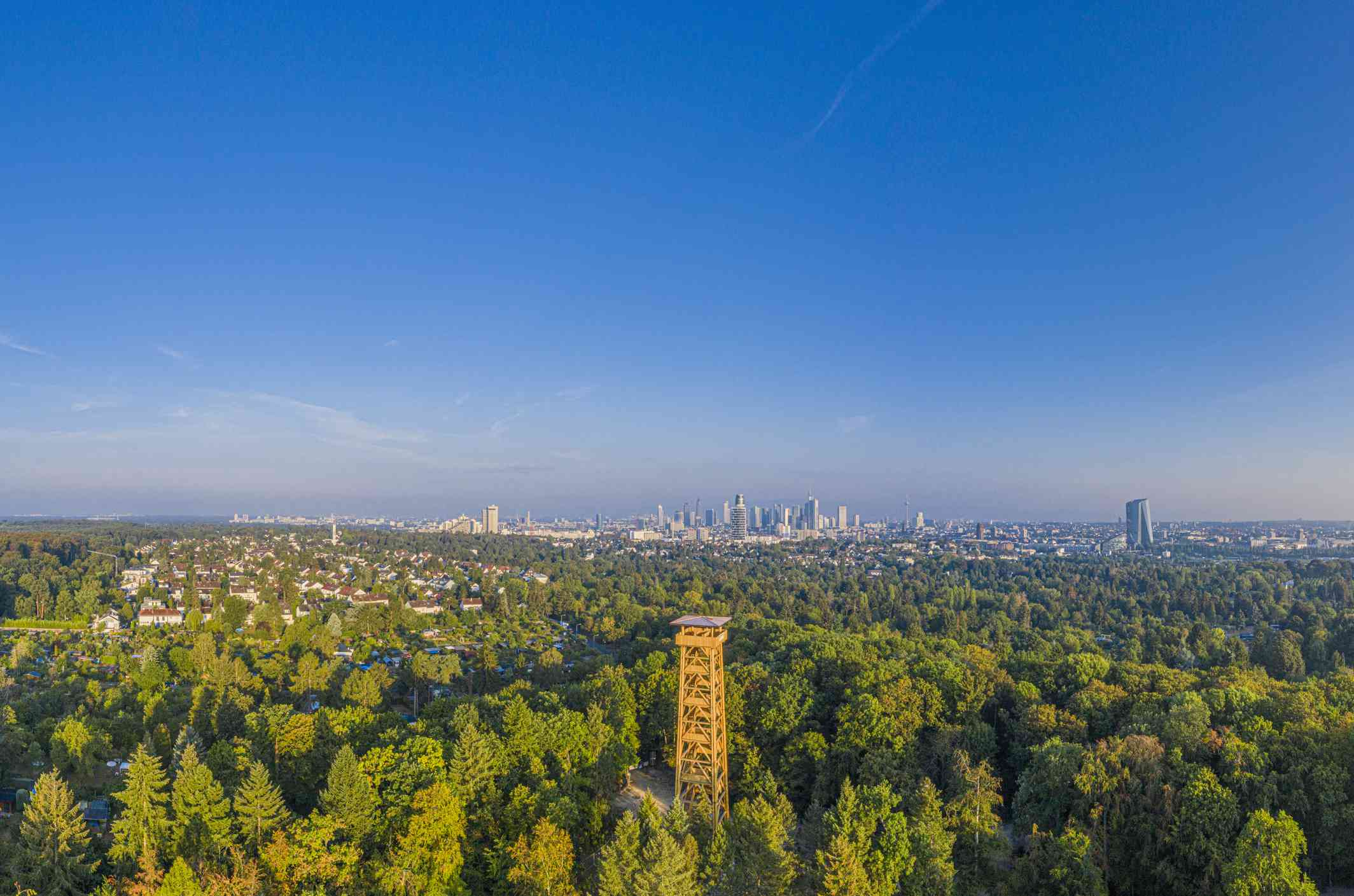 Aerial view of the yellow Goethe tower in a massive park with the Frankfurt skyline on the horizon
