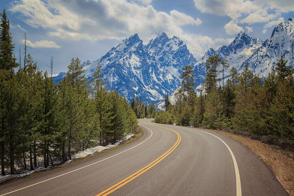 Winding road in Grand Teton National Park, Wyoming, USA