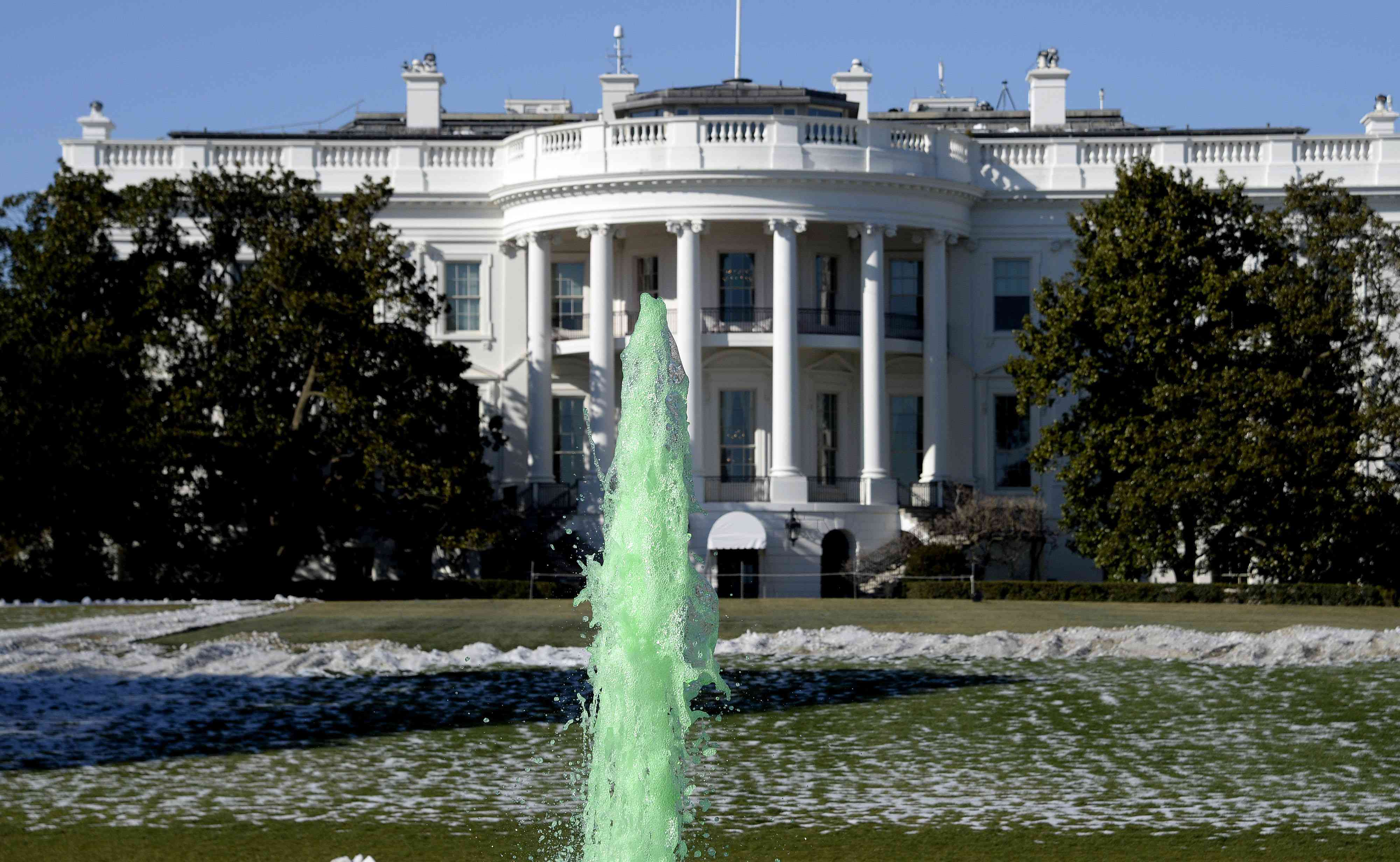 Fountain of the White House is dyed green for St. Patrick's Day