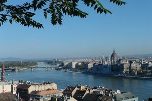 View of Pest, Hungary from Fishermen's Bastion in Buda