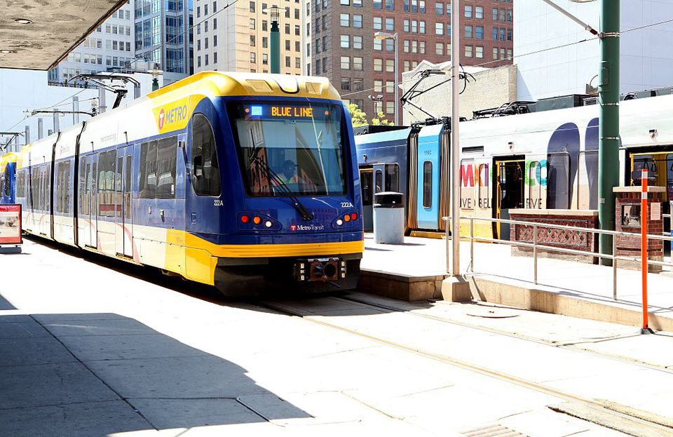 A Blue Line Metro Train, Minneapolis, Minnesota