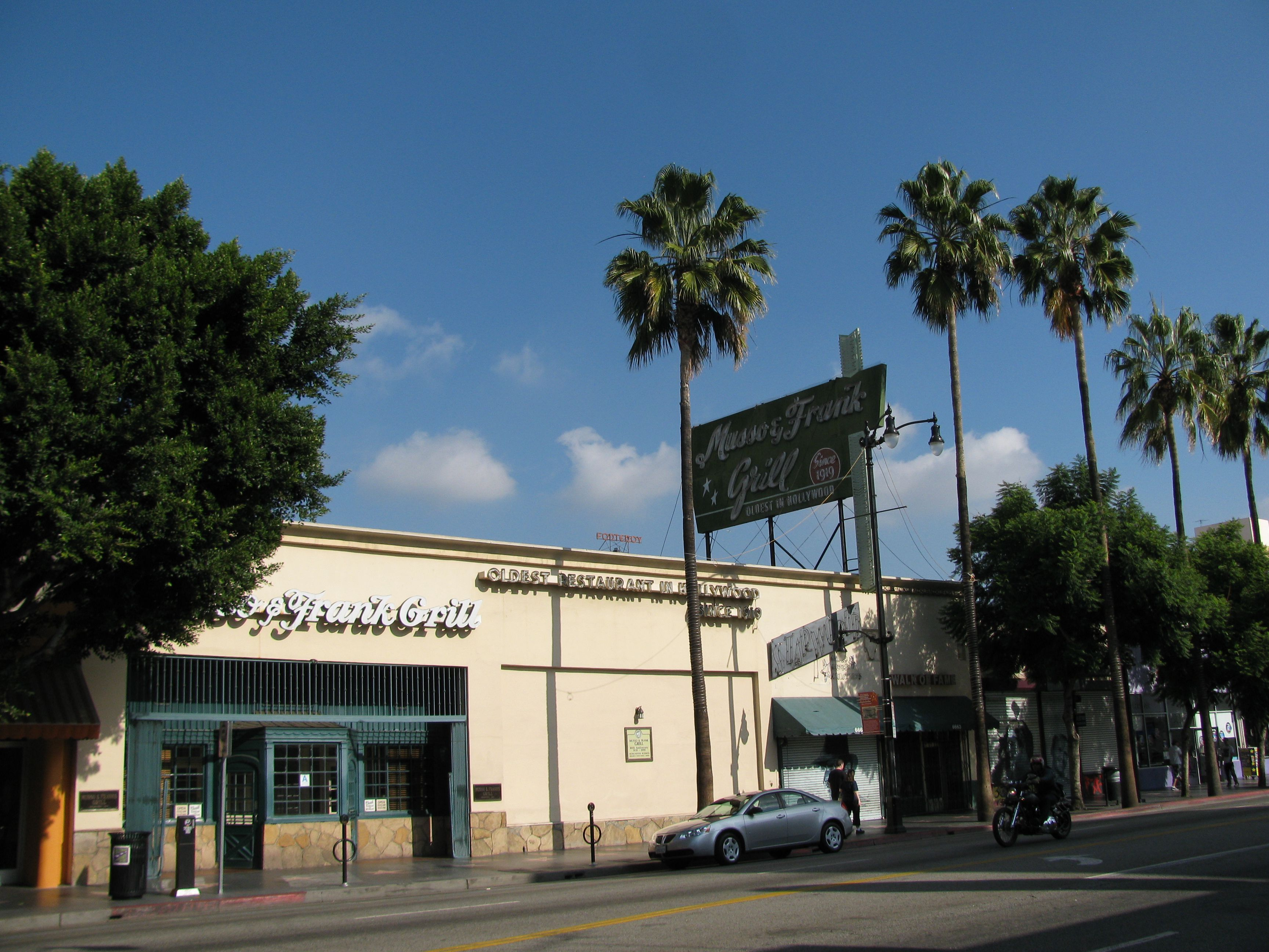 Street view of Musso and Frank's Grill on Hollywood Boulevard