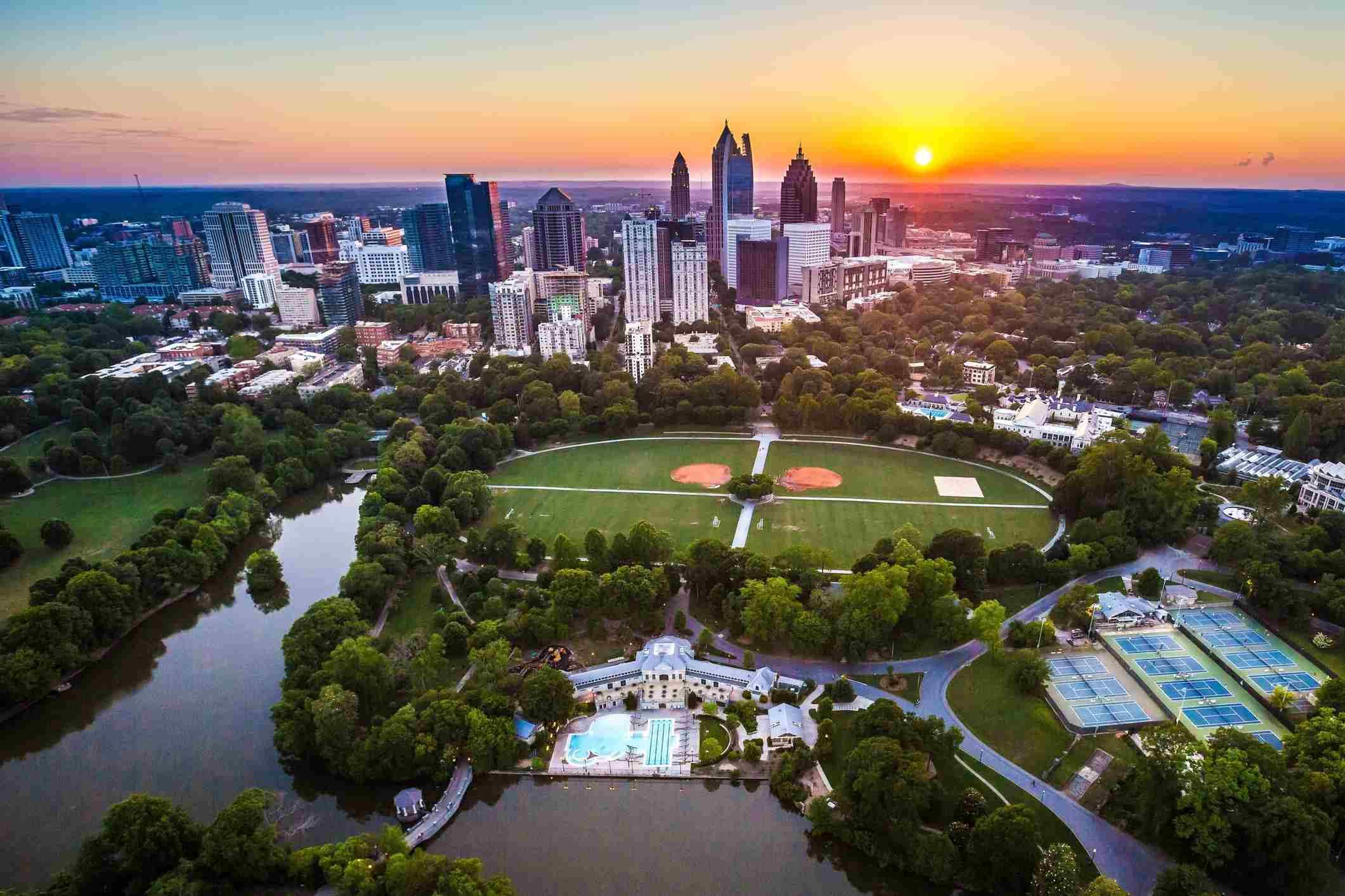 Aerial view of Piedmont Park, Atlanta
