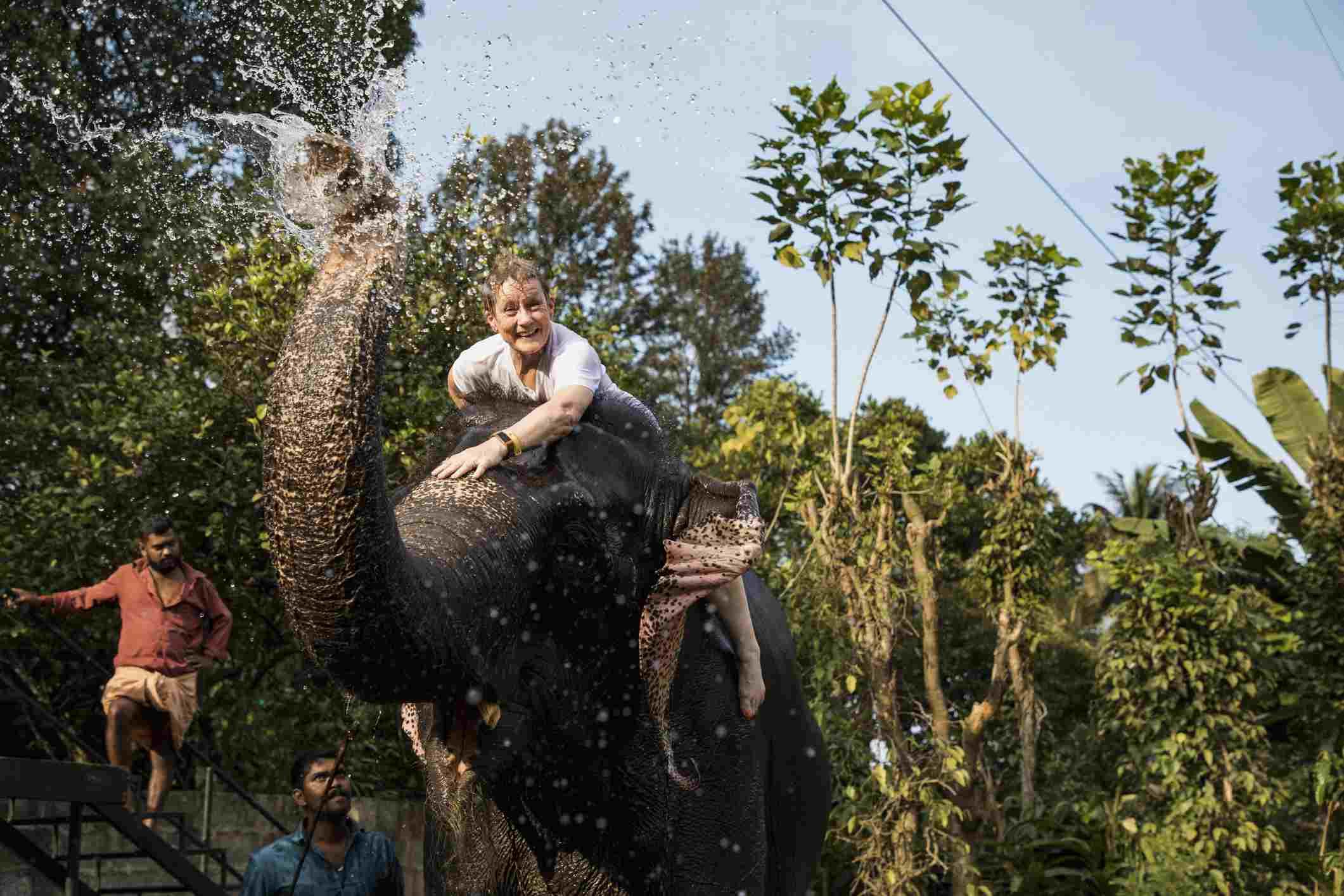 Woman riding an elephant, Thekkady, Kerala, India.