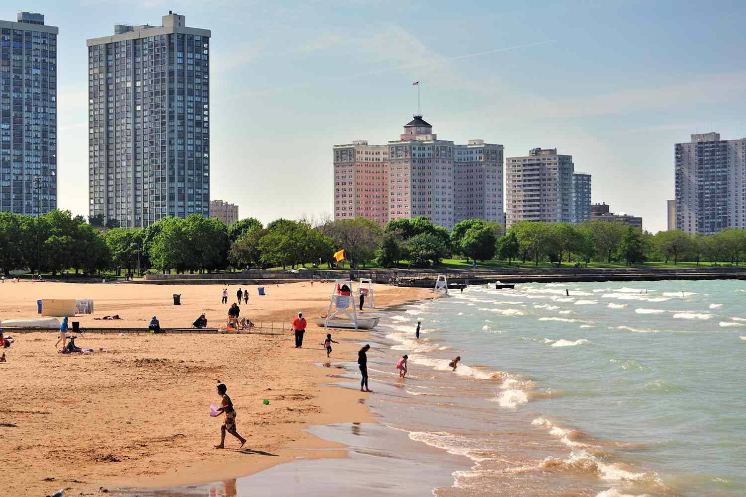 Looking down the shoreline at Foster Avenue Beach in Chicago