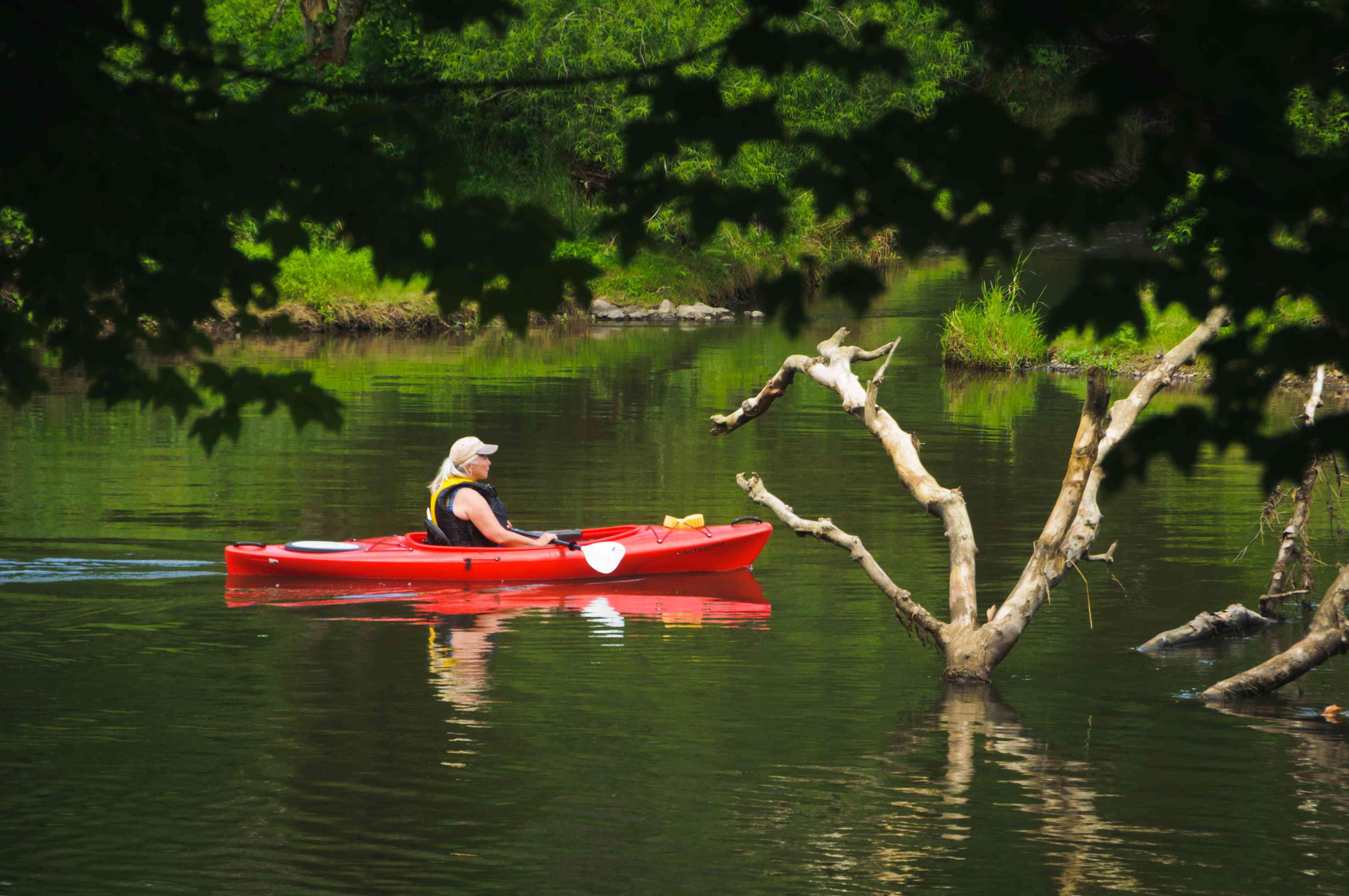 Red Kayak on the Blackstone River