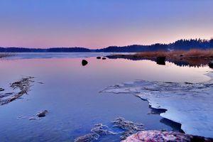 Icy water in Laajasalo, Helsinki, Finland