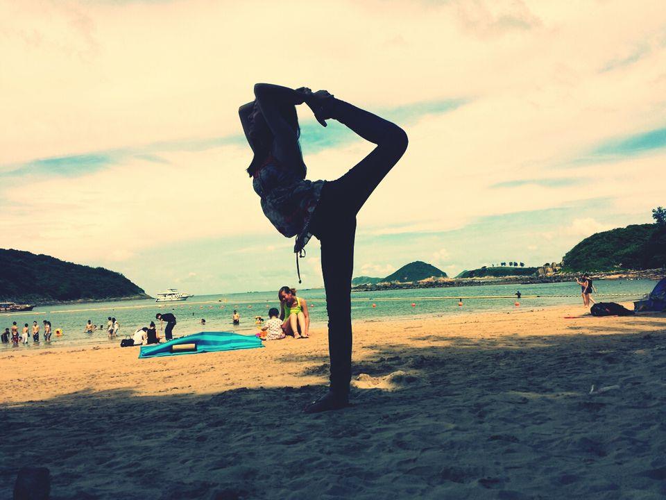 Yoga on a Hong Kong beach