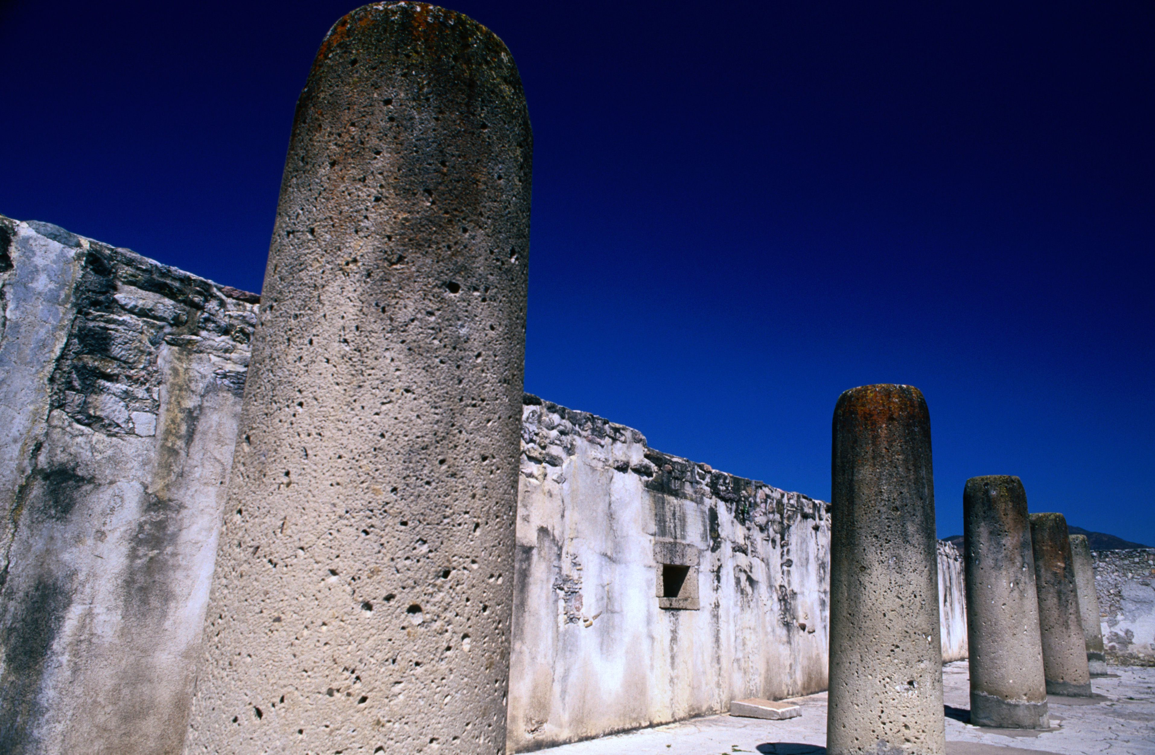 Hall of the Columns (Sala de las Columnas) in the archaelogical zone of Mitla.