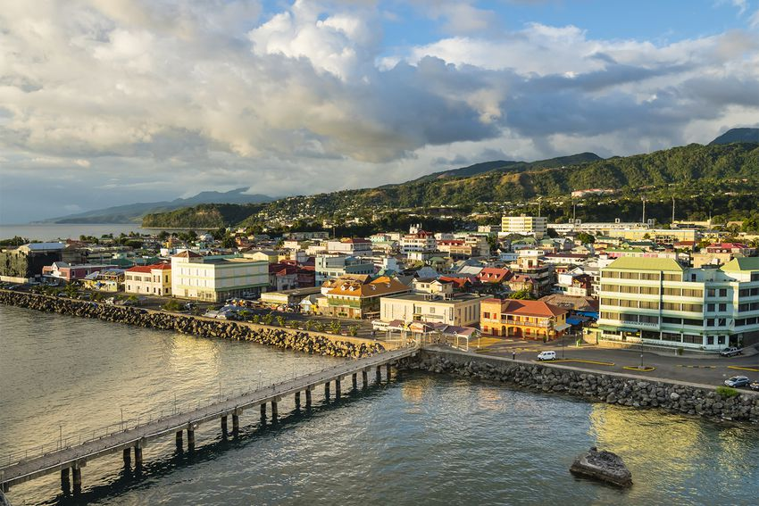 Caribbean, Antilles, Dominica, Roseau, View of the city at dusk
