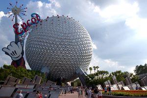 Guests leave Walt Disney World's Epcot October 8, 2003 near Orlando, Florida