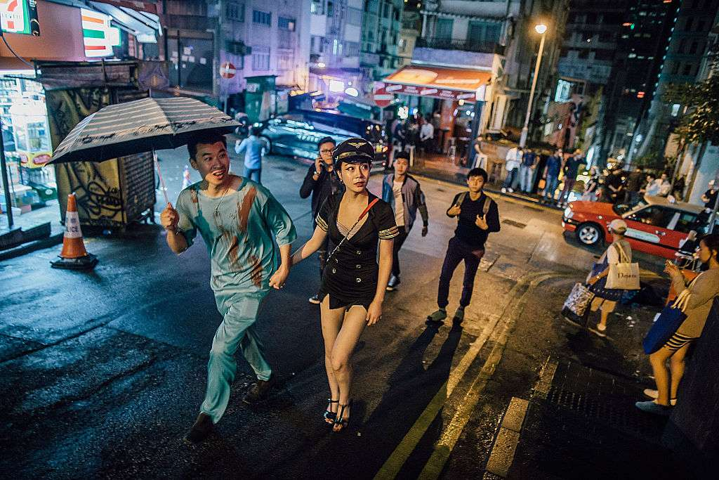 Halloween revelers in Hong Kong