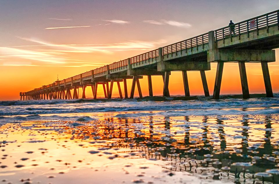 the Jacksonville Beach Pier at Sunrise