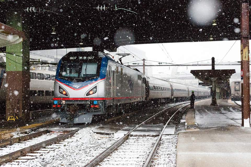 Amtrak Acela train in the snow