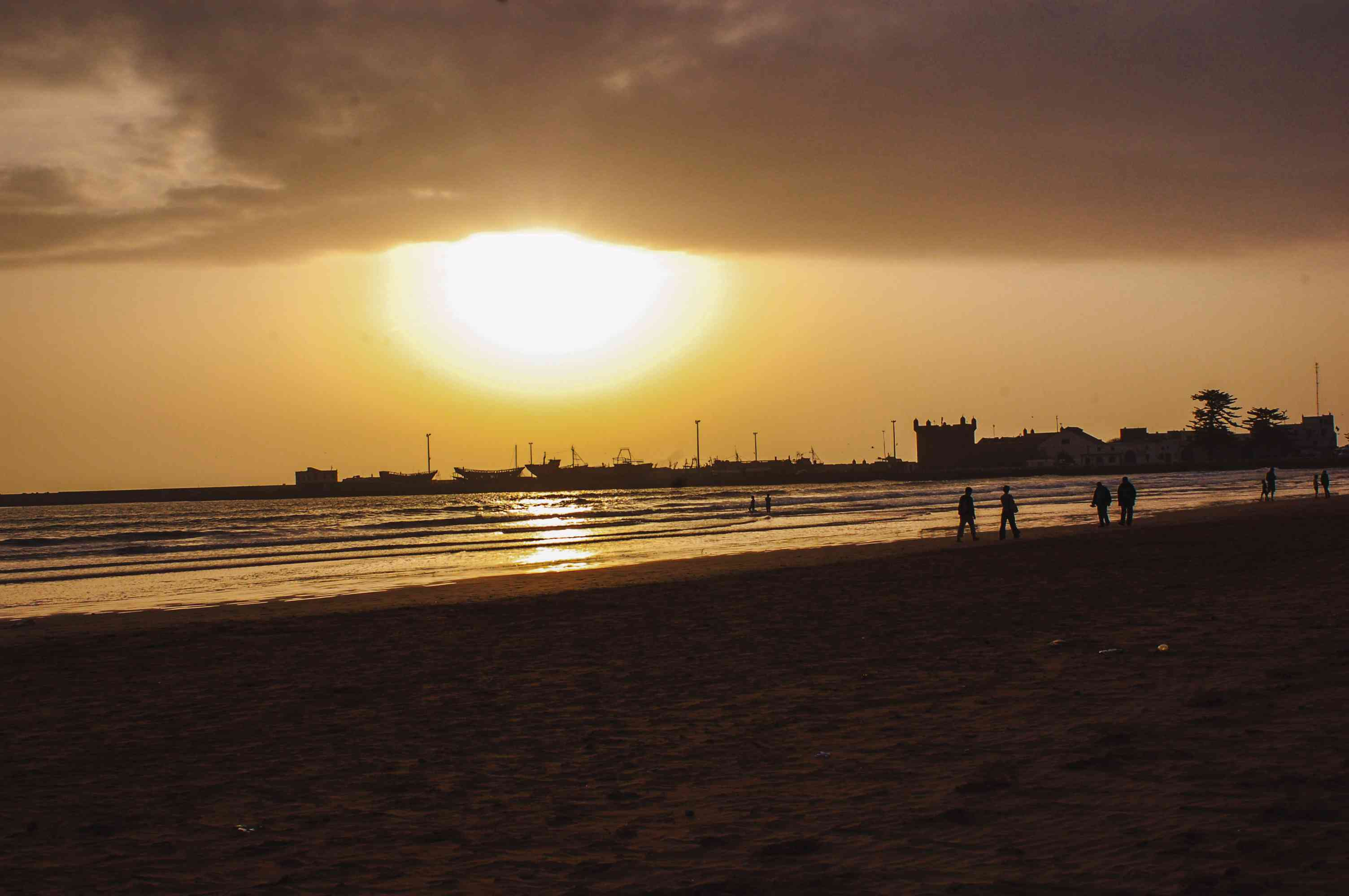 A moroccan beach during sunset