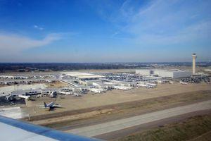 Aerial shot of the Memphis International Airport