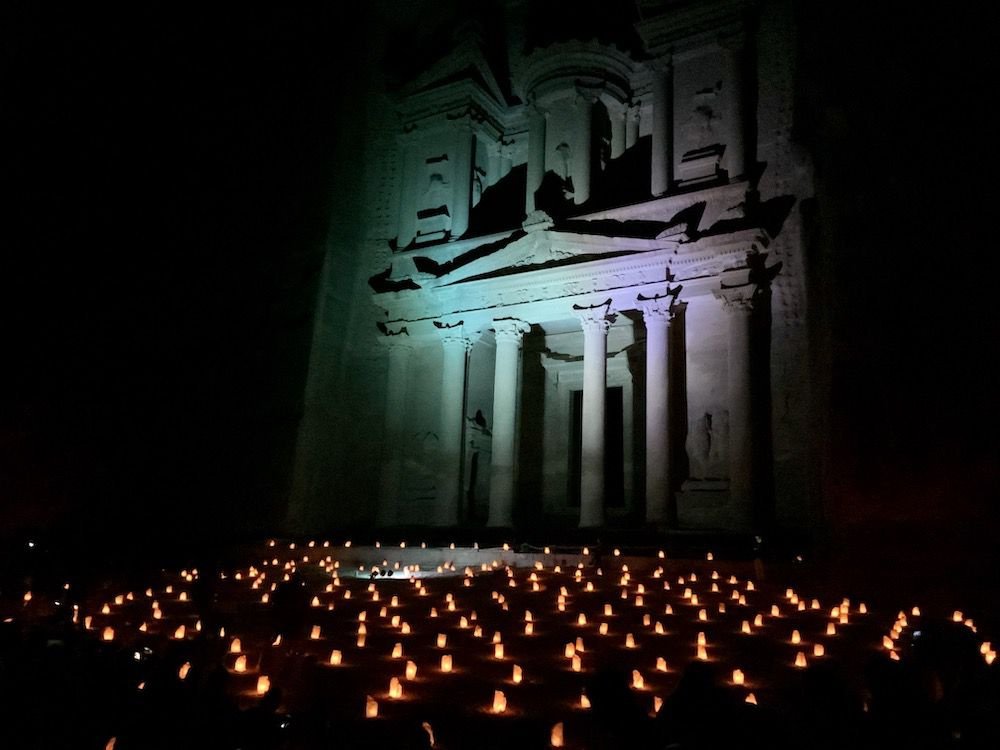 Petra in Jordan illuminated by candles.
