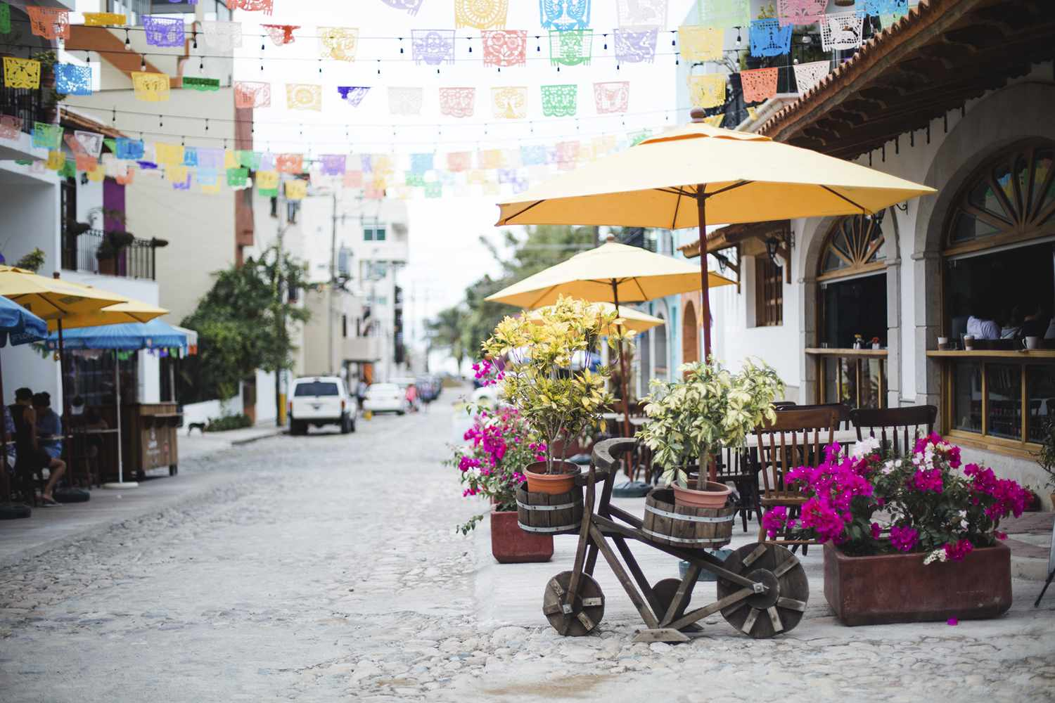 A colorful street in Bucerias, Riviera Nayarit, Mexico