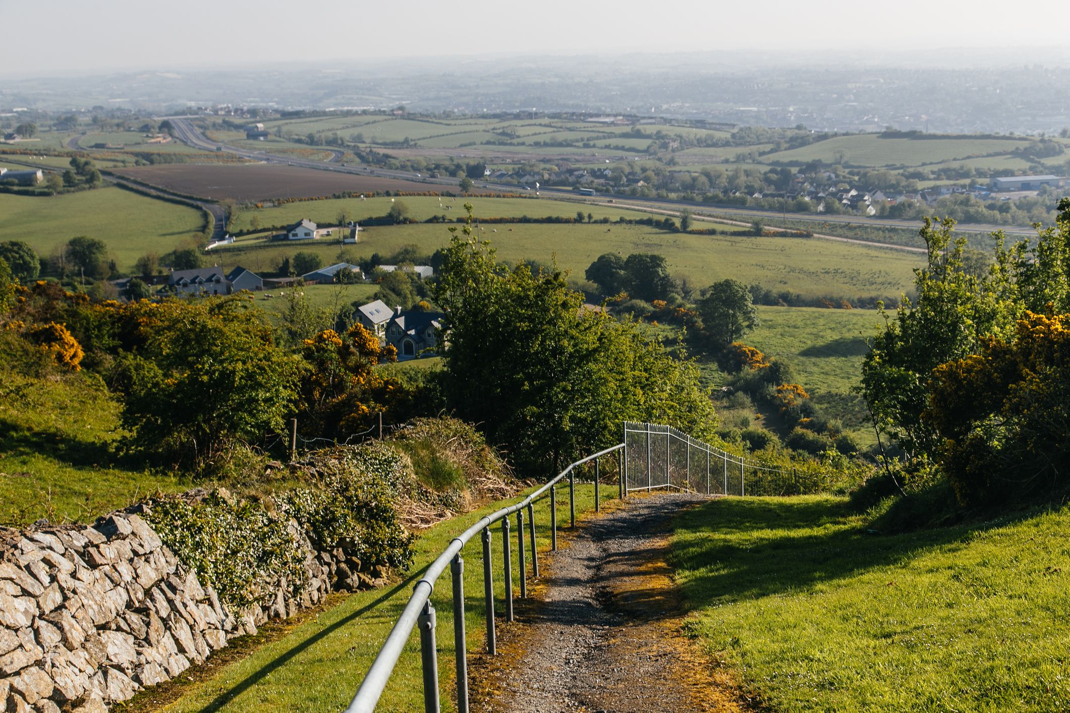 Road down the hill from Bernish viewpoint near Newry, Northern Ireland