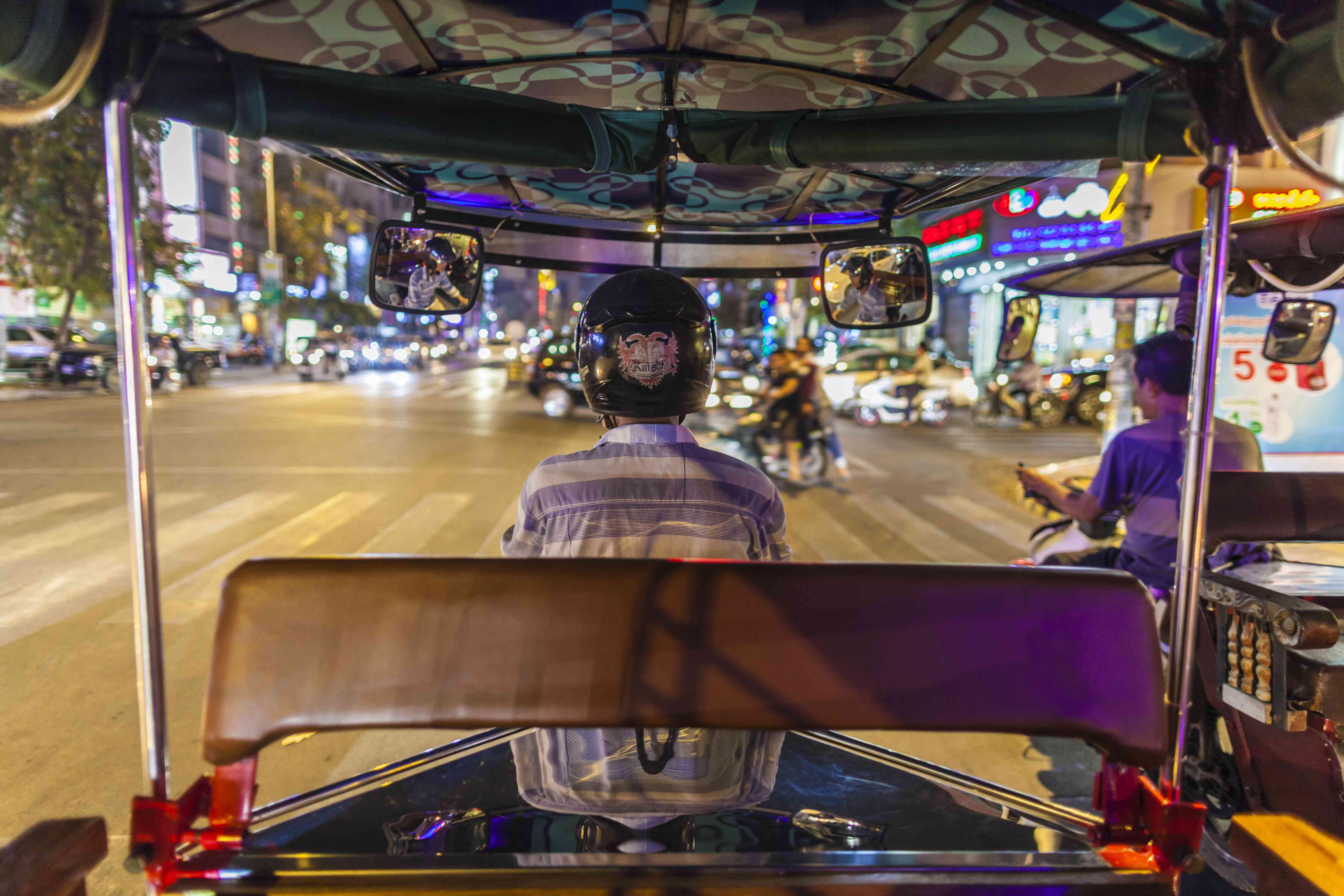 A tuk-tuk ride in Phnom Penh at night