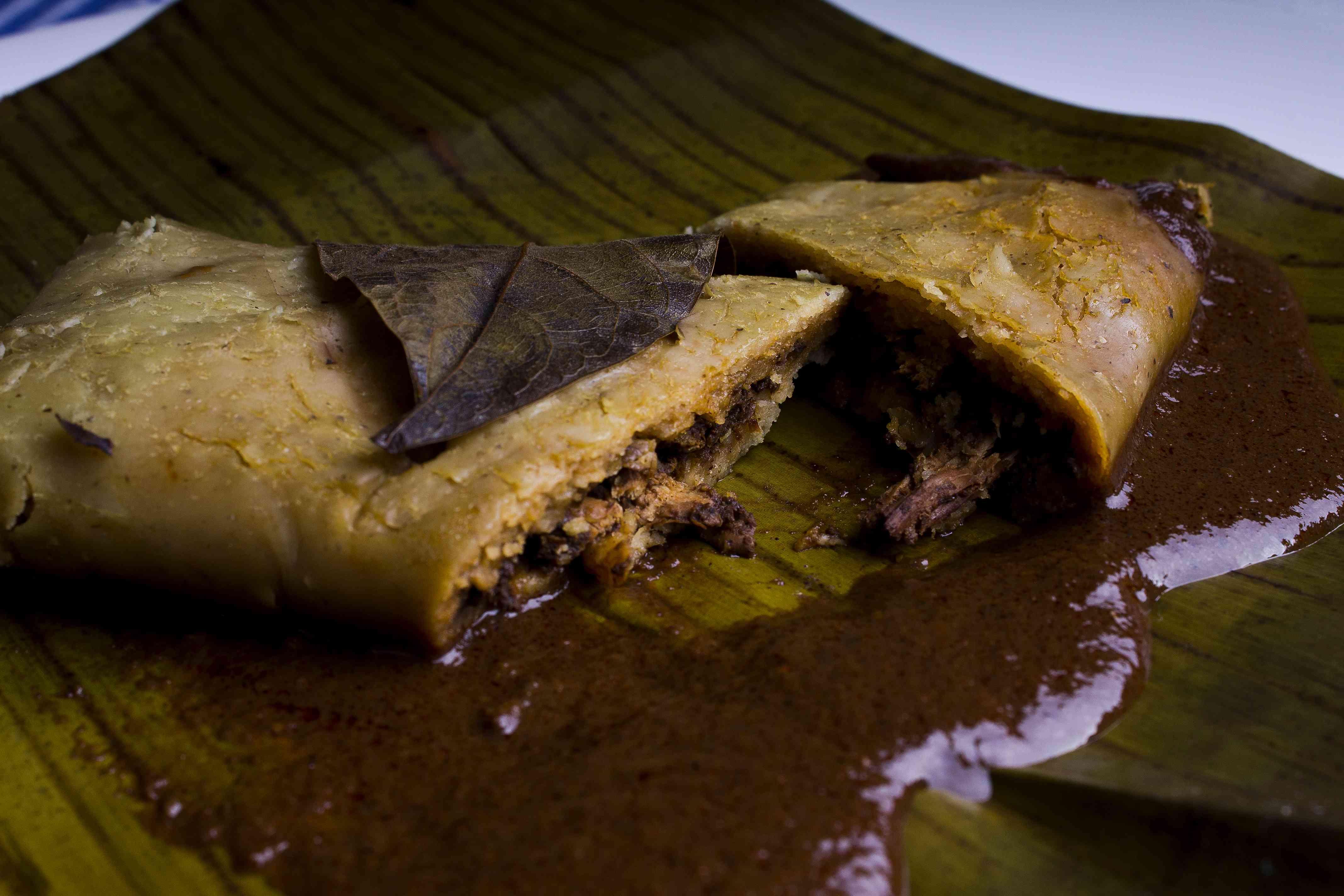 Oaxacan tamal made with black mole