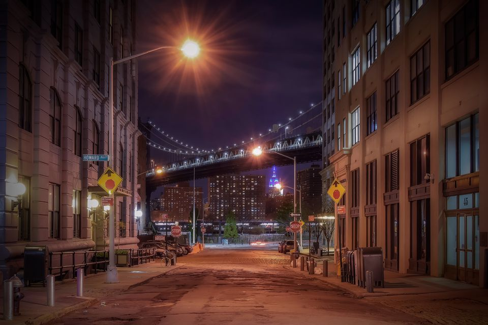 A Brooklyn street after dark.