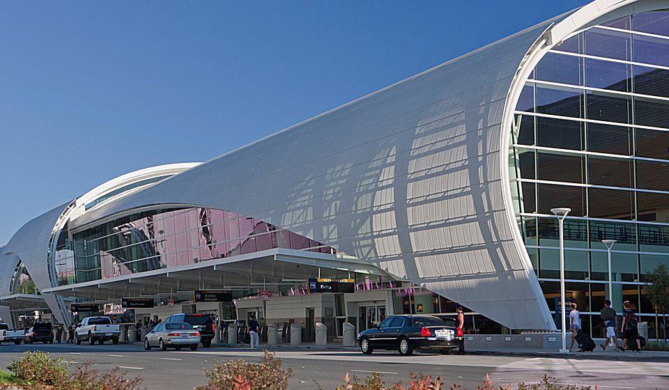 The exterior of San Jose International Airport.