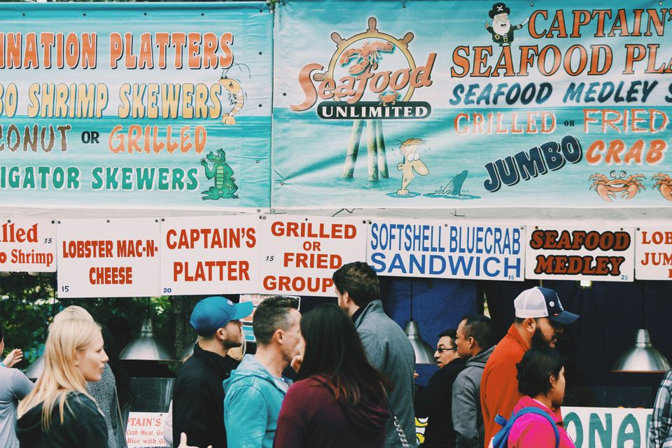 Food stalls at a Sea food festival