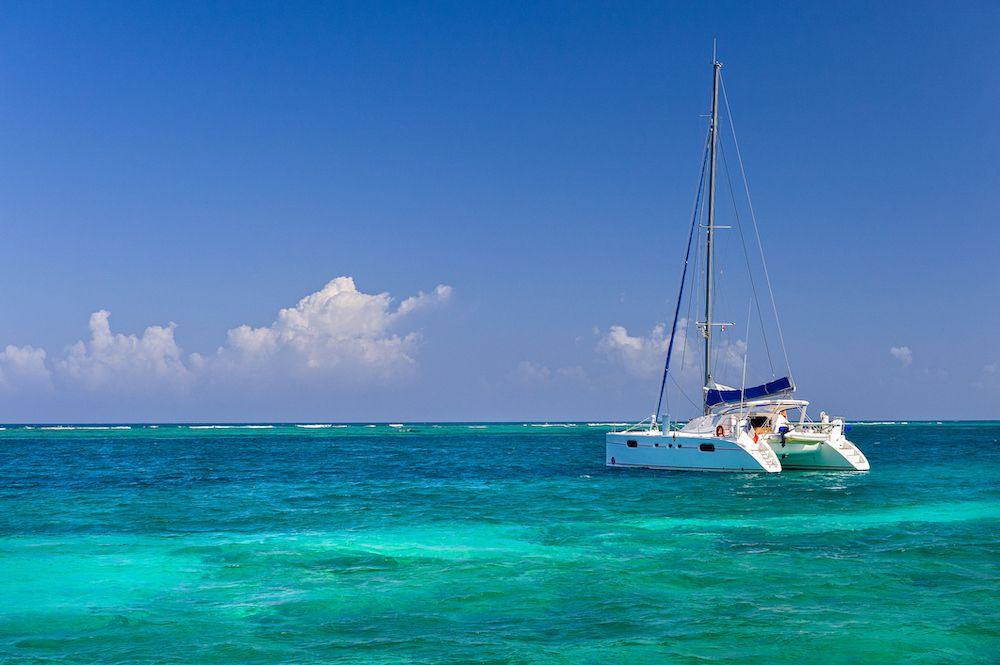 a catamaran on the Caribbean Sea