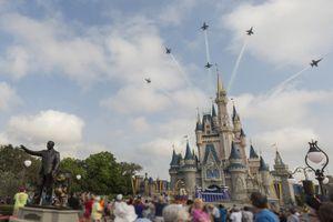 U.S. Navy Blue Angels Soar Above Cinderella Castle At Walt Disney World Resort