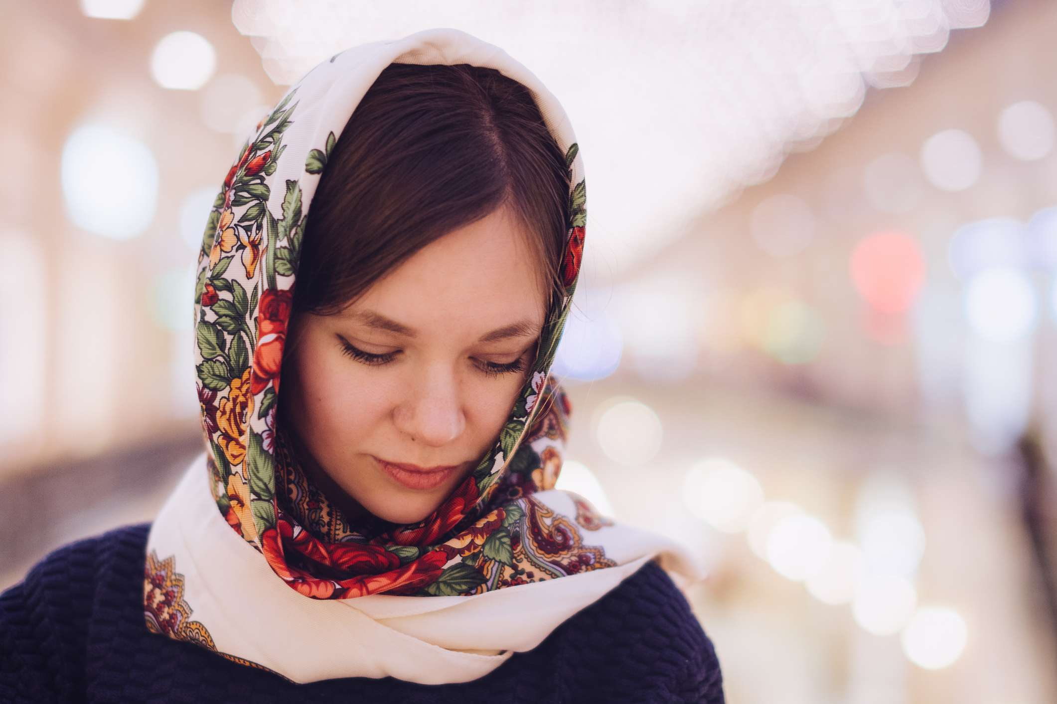 Beautiful lady in traditional Russian head scarf