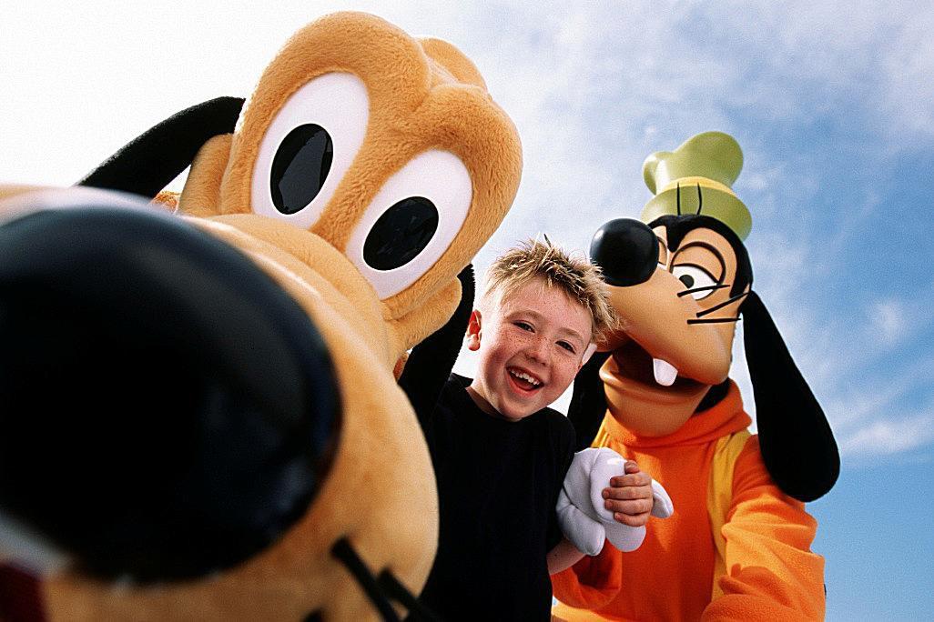 Kidding around with Pluto and Goofy